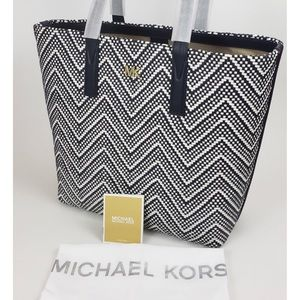 NWT🎉👜Michael Kors Junie Large Woven Leather Tote
